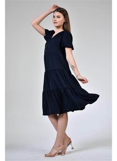 Rodi Jeans Kadın Düğmeli V Yaka Şifon Elbise DS21YB111937 Lacivert